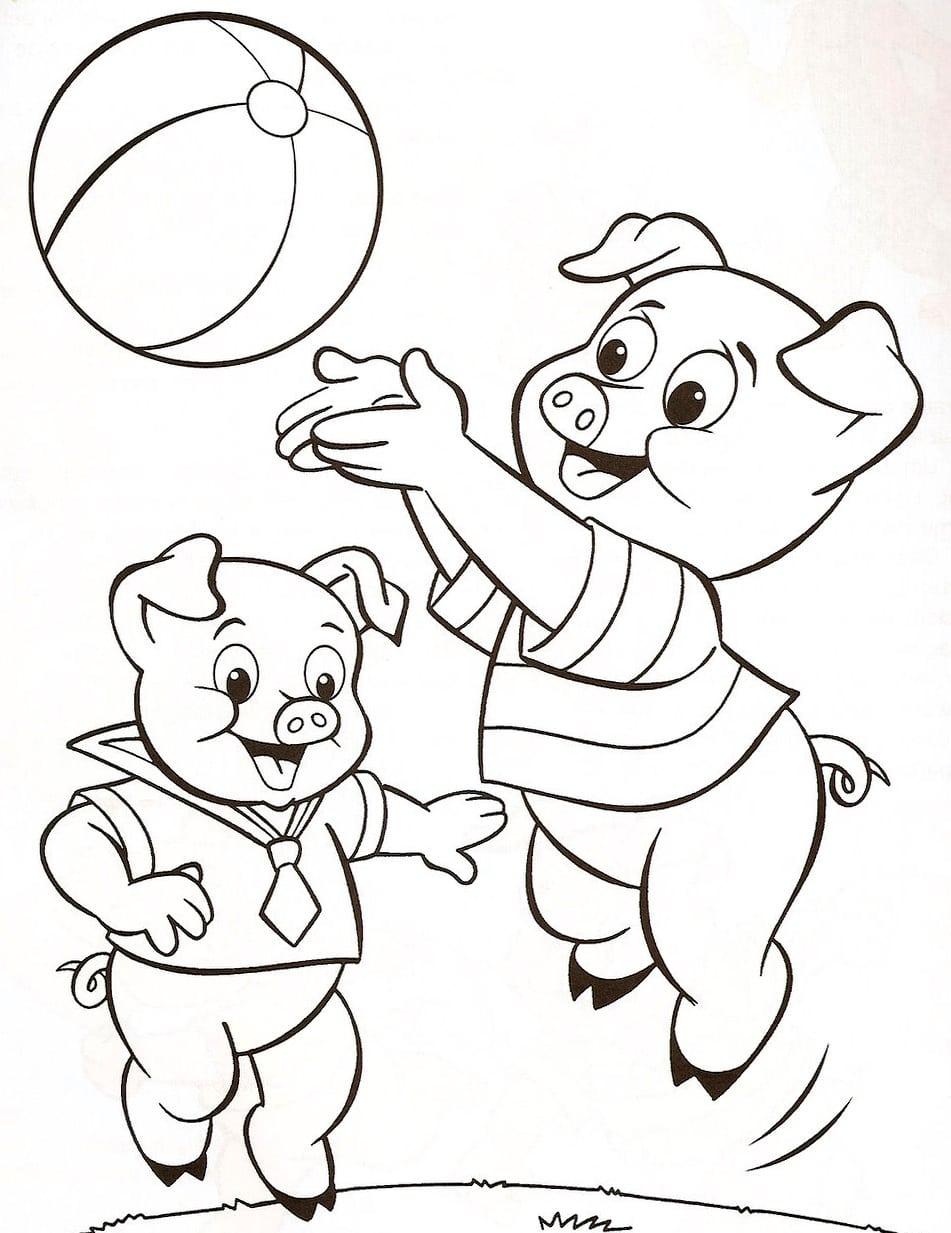 3 Porquinhos Jogando – Desenhos Para Colorir