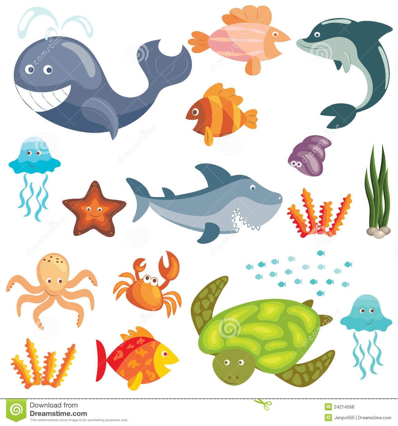 Animais Marinhos Dos Desenhos Animados Ajustados [1] Foto De Stock