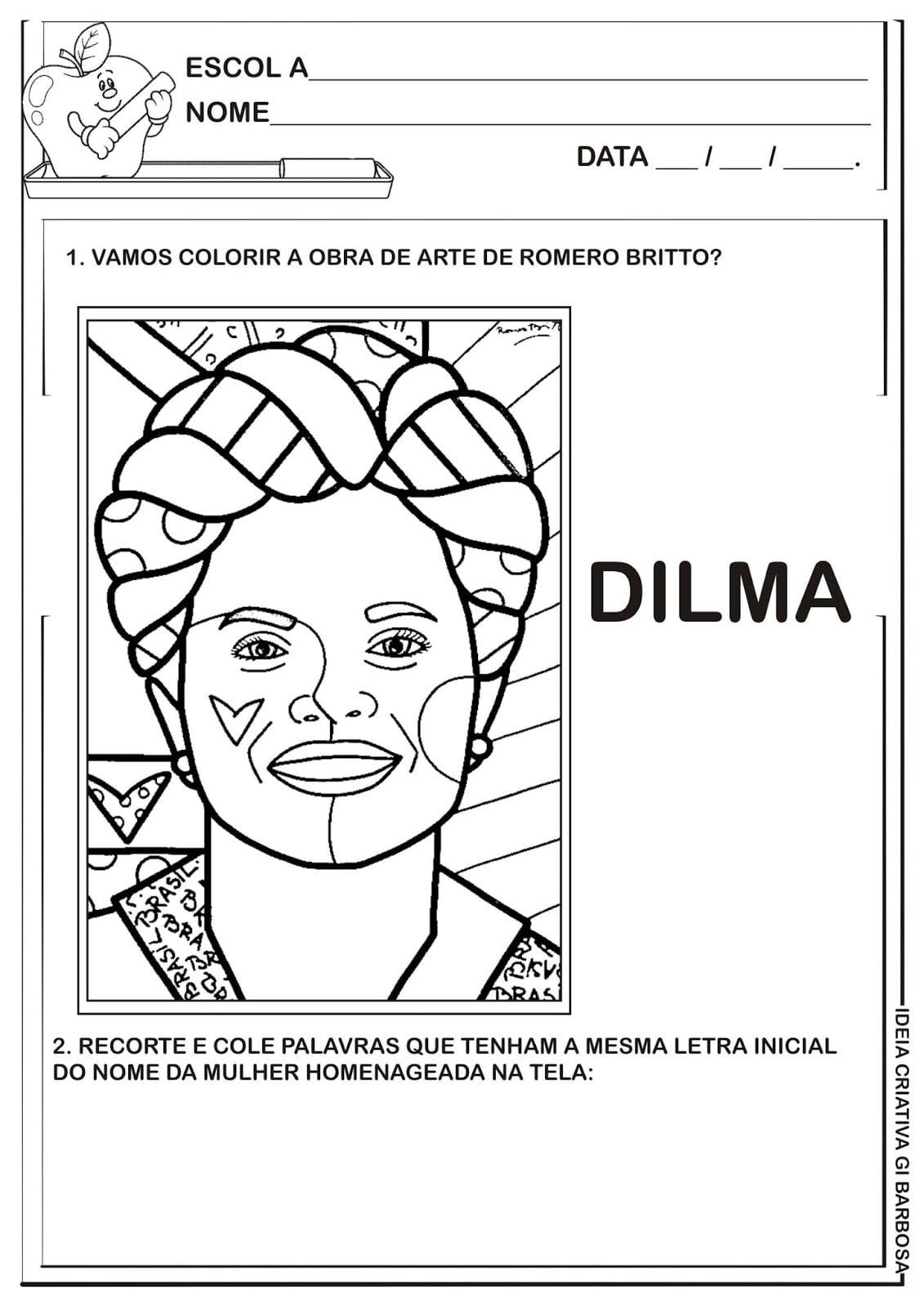 Atividade Letra D Releitura De Obra Romero Britto Presidente Dilma