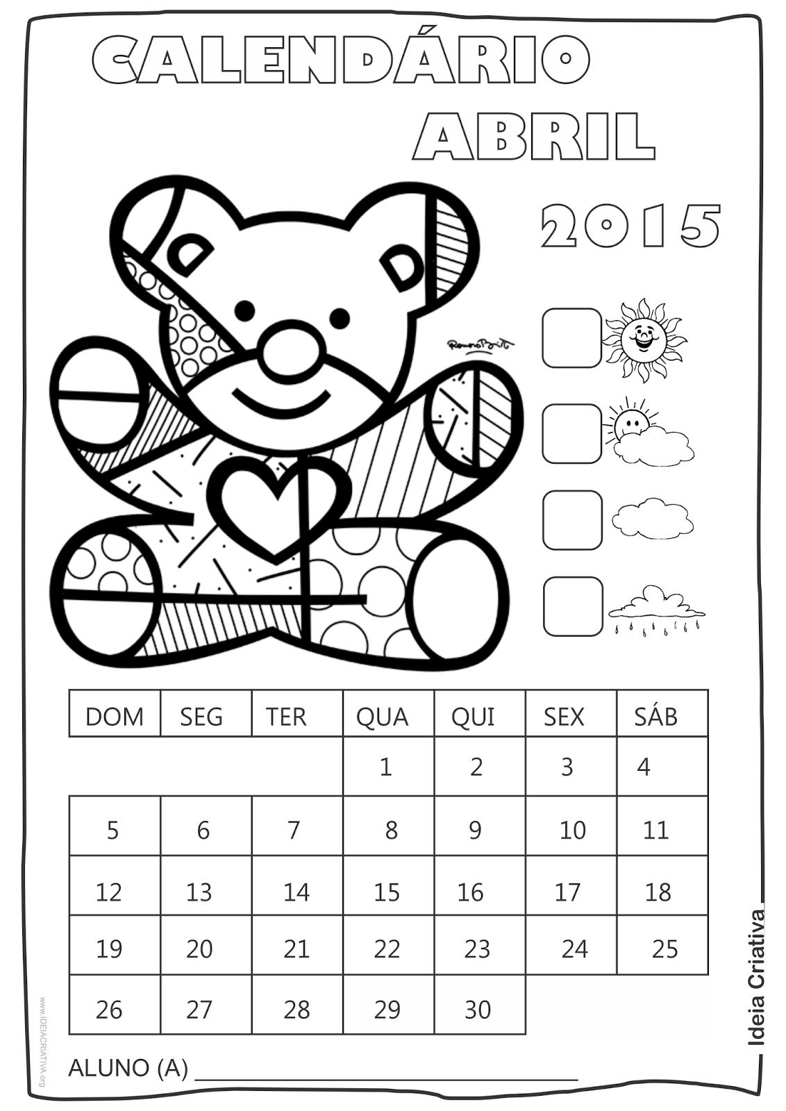 Calendários 2015 Romero Britto Para Imprimir E Colorir Grátis
