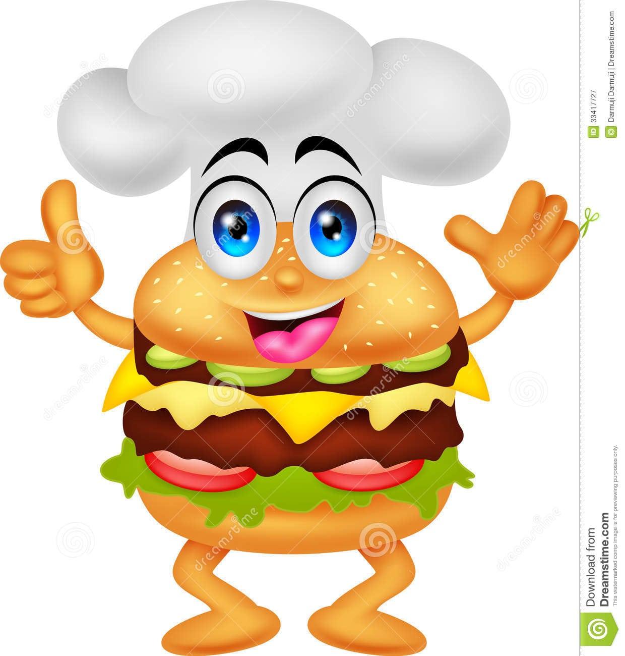 Caráter Engraçado Do Cozinheiro Chefe Do Hamburguer Dos Desenhos