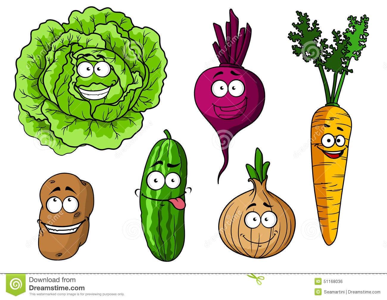 Caráteres Felizes Dos Legumes Frescos Dos Desenhos Animados