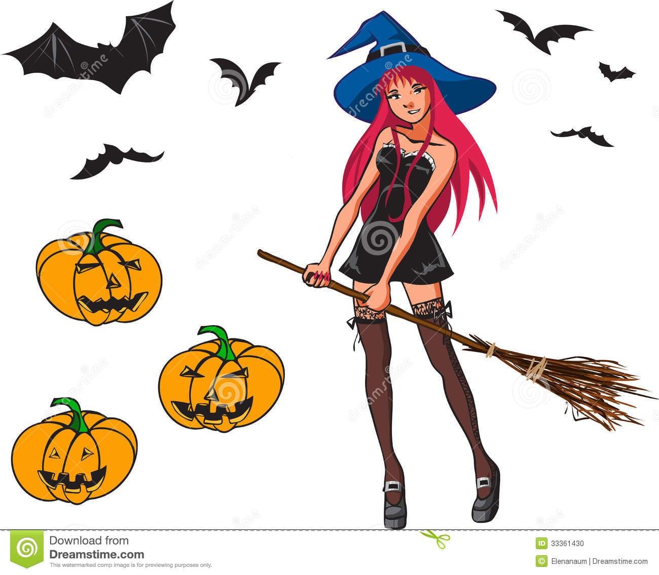 Coleção Dos Desenhos Animados De Dia Das Bruxas Com Bruxa, Bastão