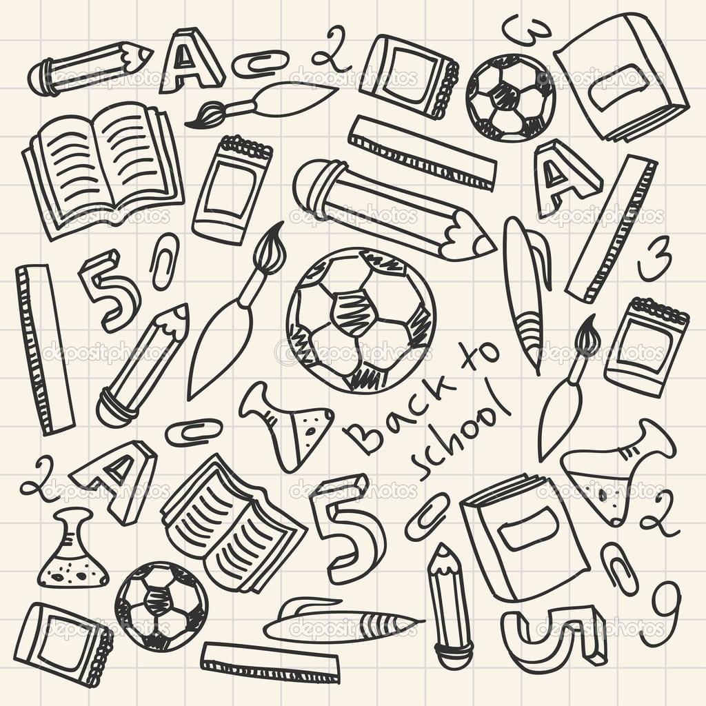 Conjunto De Material Escolar De Desenhos Animados — Vetores De
