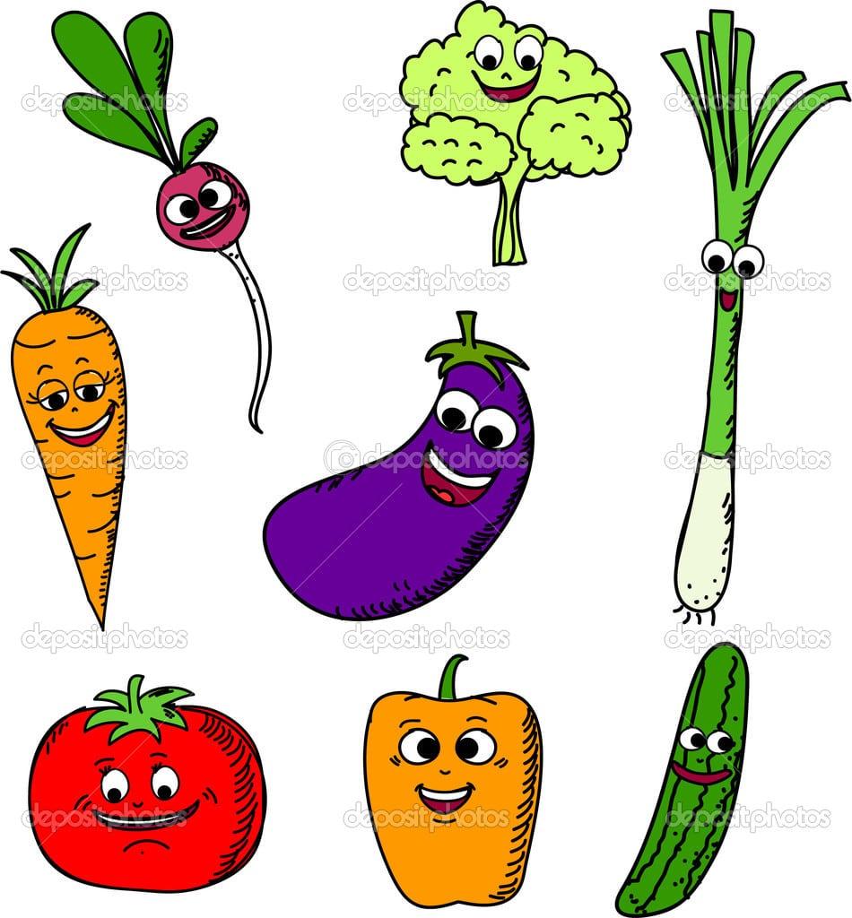 Conjunto Engraçado Dos Desenhos Animados De Legumes — Vetor De