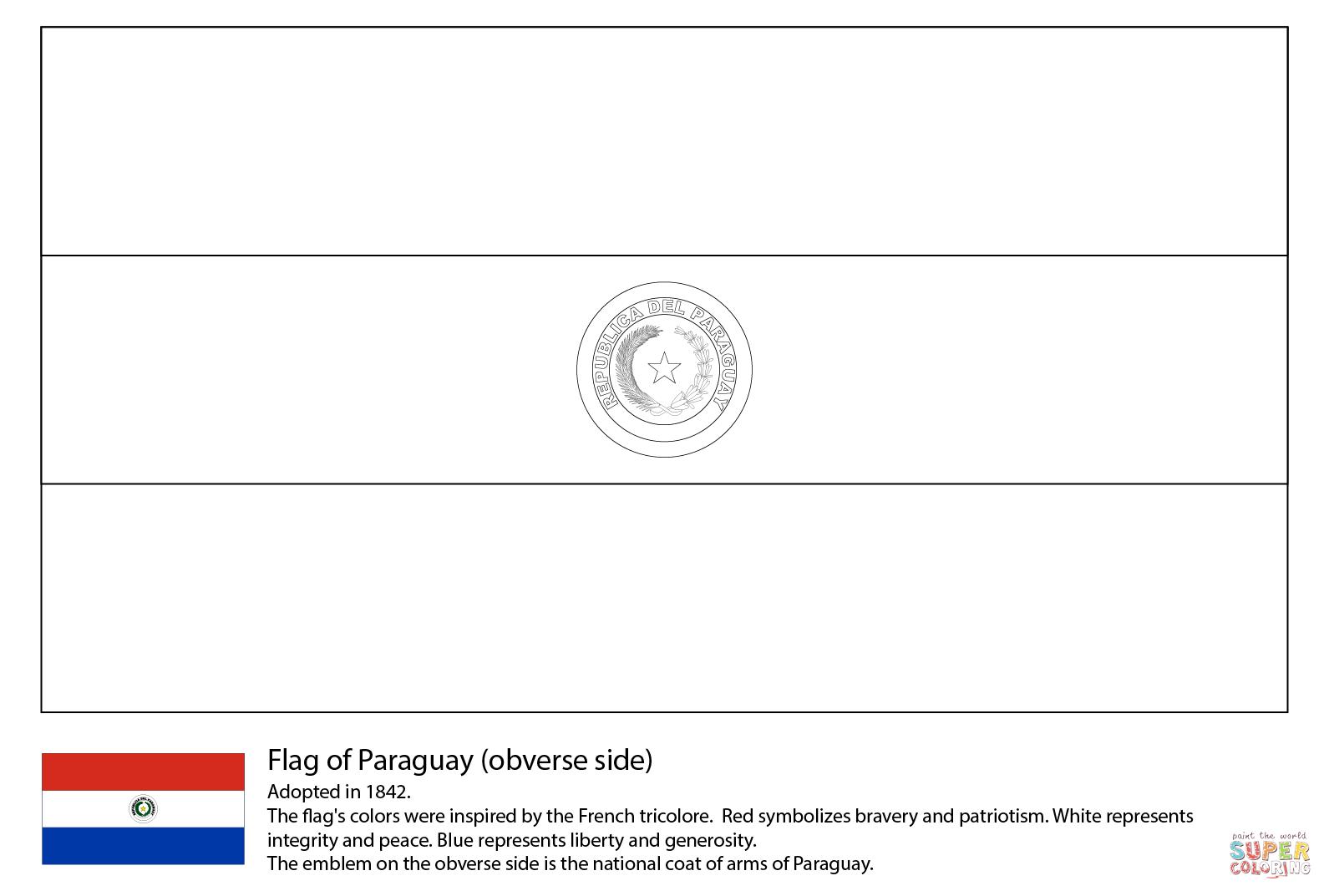 Desenho De Bandeira Do Paraguai Para Colorir