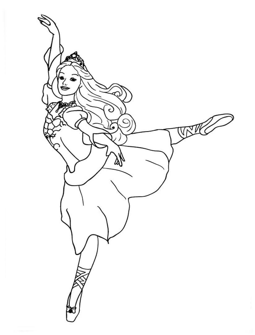 Desenho De Barbie Bailarina Fazendo Passos De Balé Para Colorir