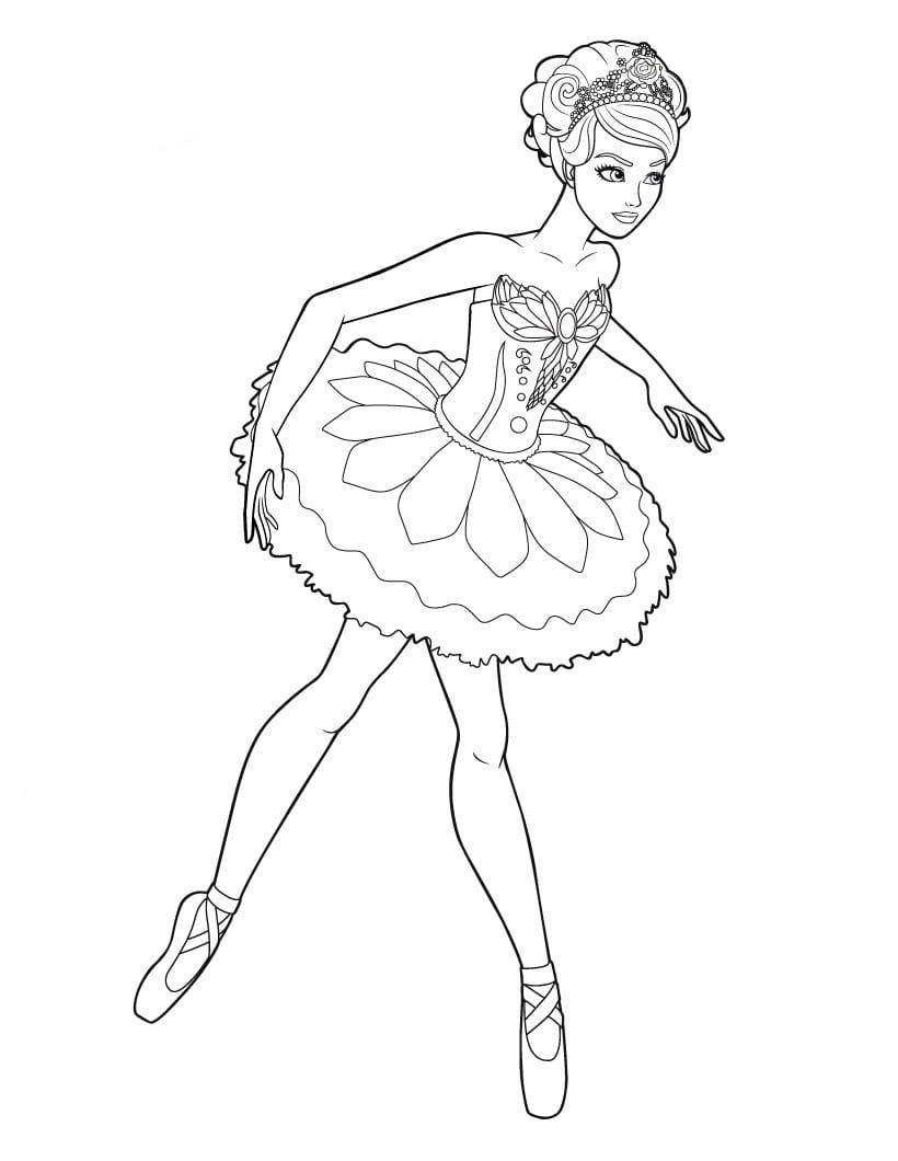 Desenho De Barbie Com Saia Frufru Para Colorir