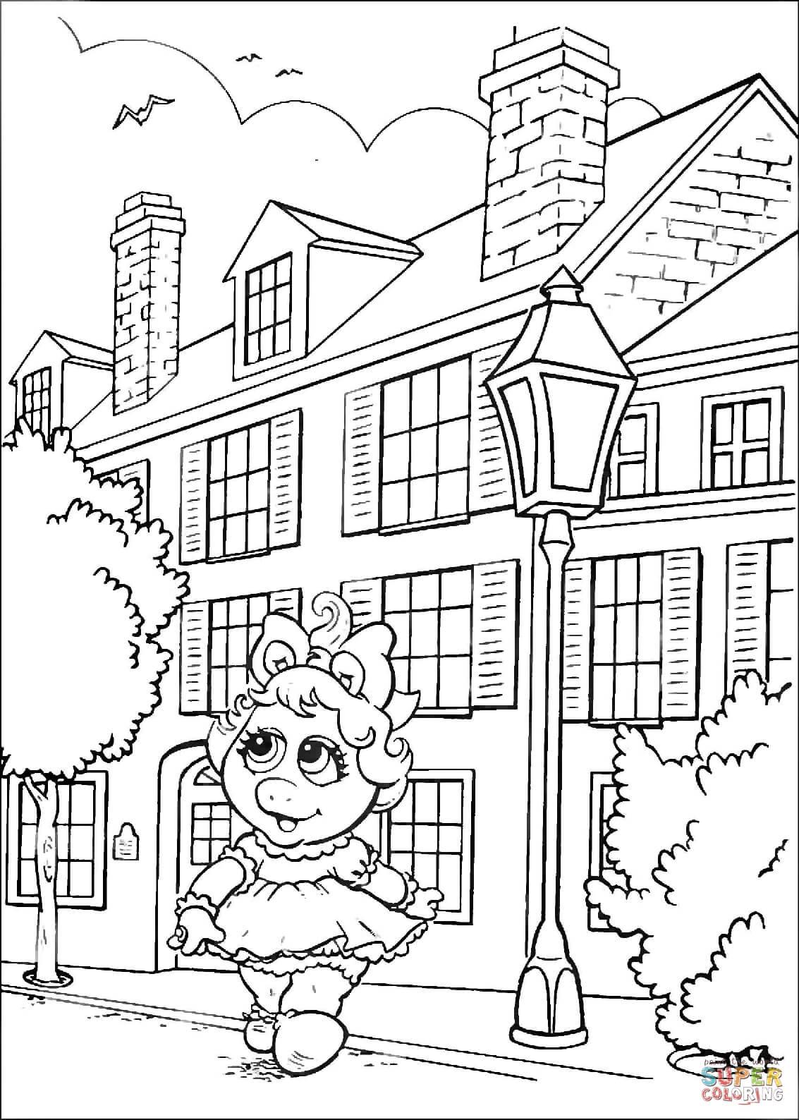 Desenho De Bebê Piggy Está Andando Na Cidade Para Colorir