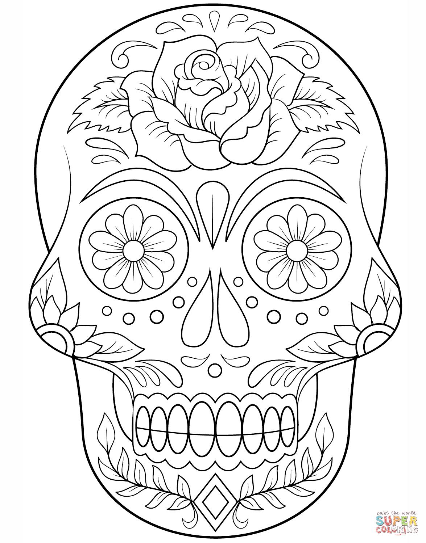 Desenho De Caveira De Açúcar Com Flores Para Colorir