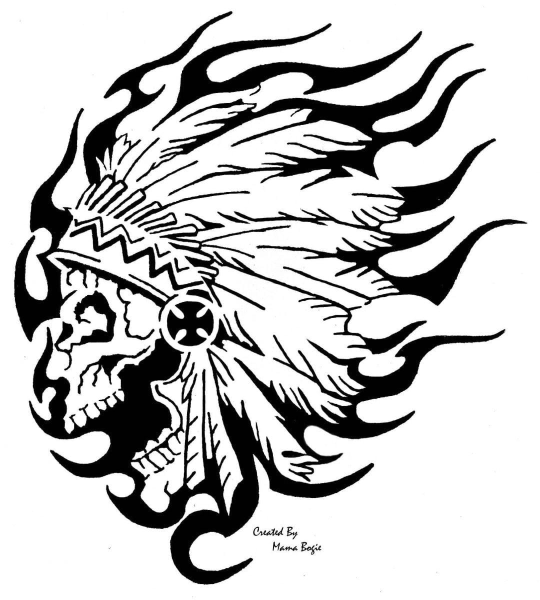 Desenho De Caveira Indígena Para Colorir