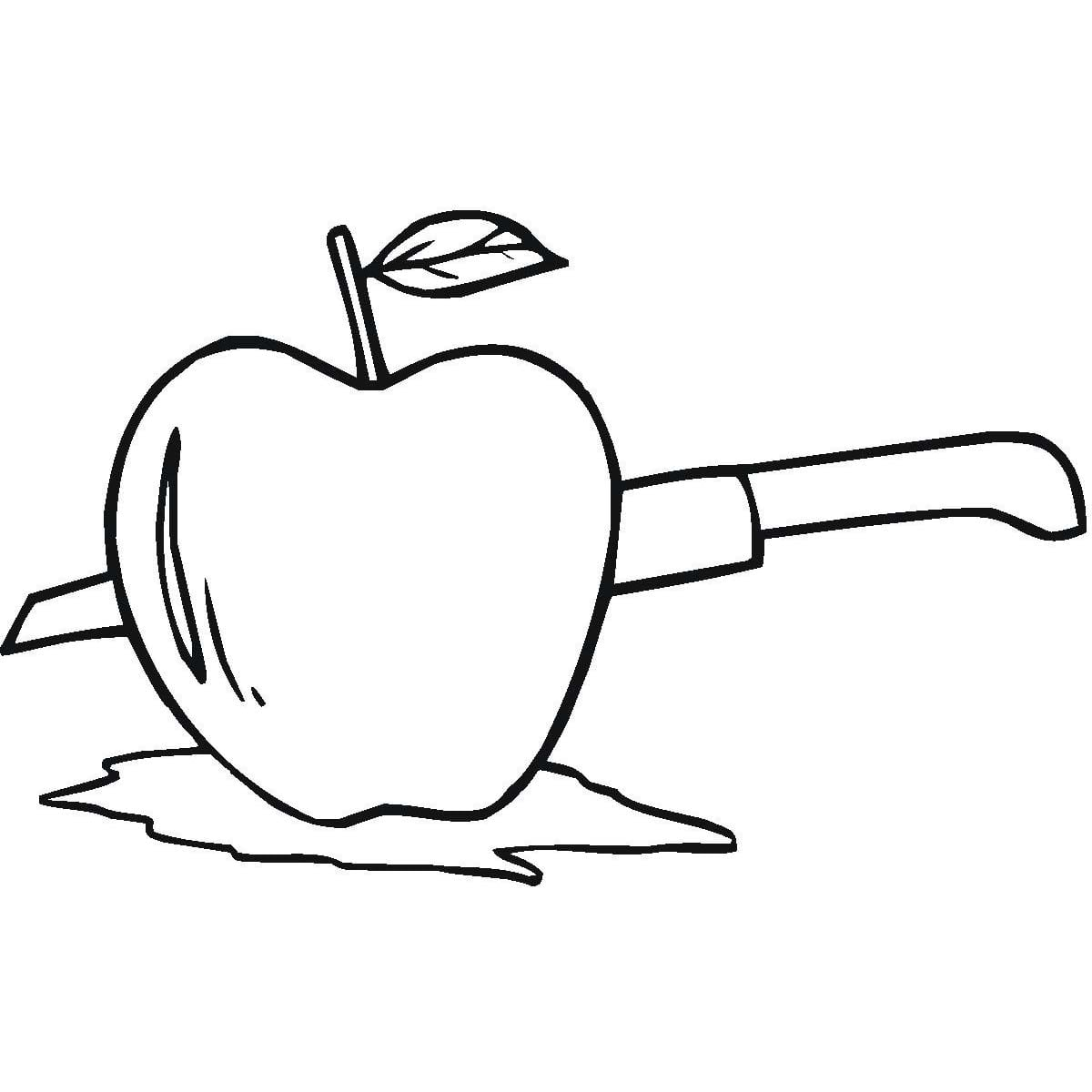 Desenho De Faca Cortando Maçã Para Colorir