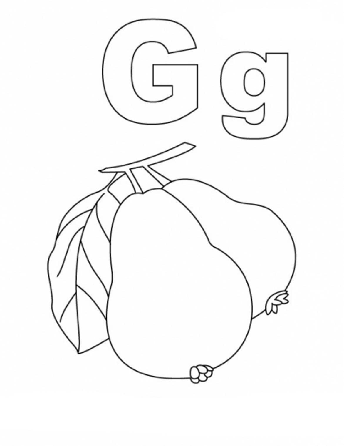 Desenho De Letra G De Goiaba Para Colorir