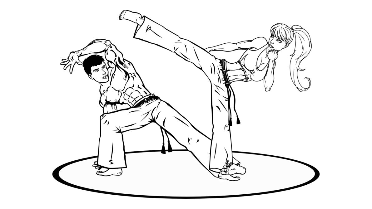 Desenho De Menina Jogando Capoeira Para Colorir
