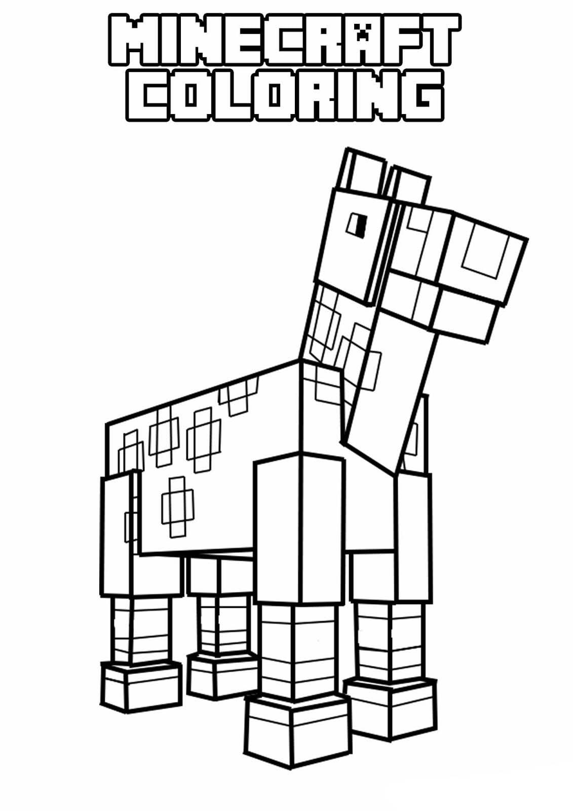 Desenho De Minecraft Cavalo Para Colorir
