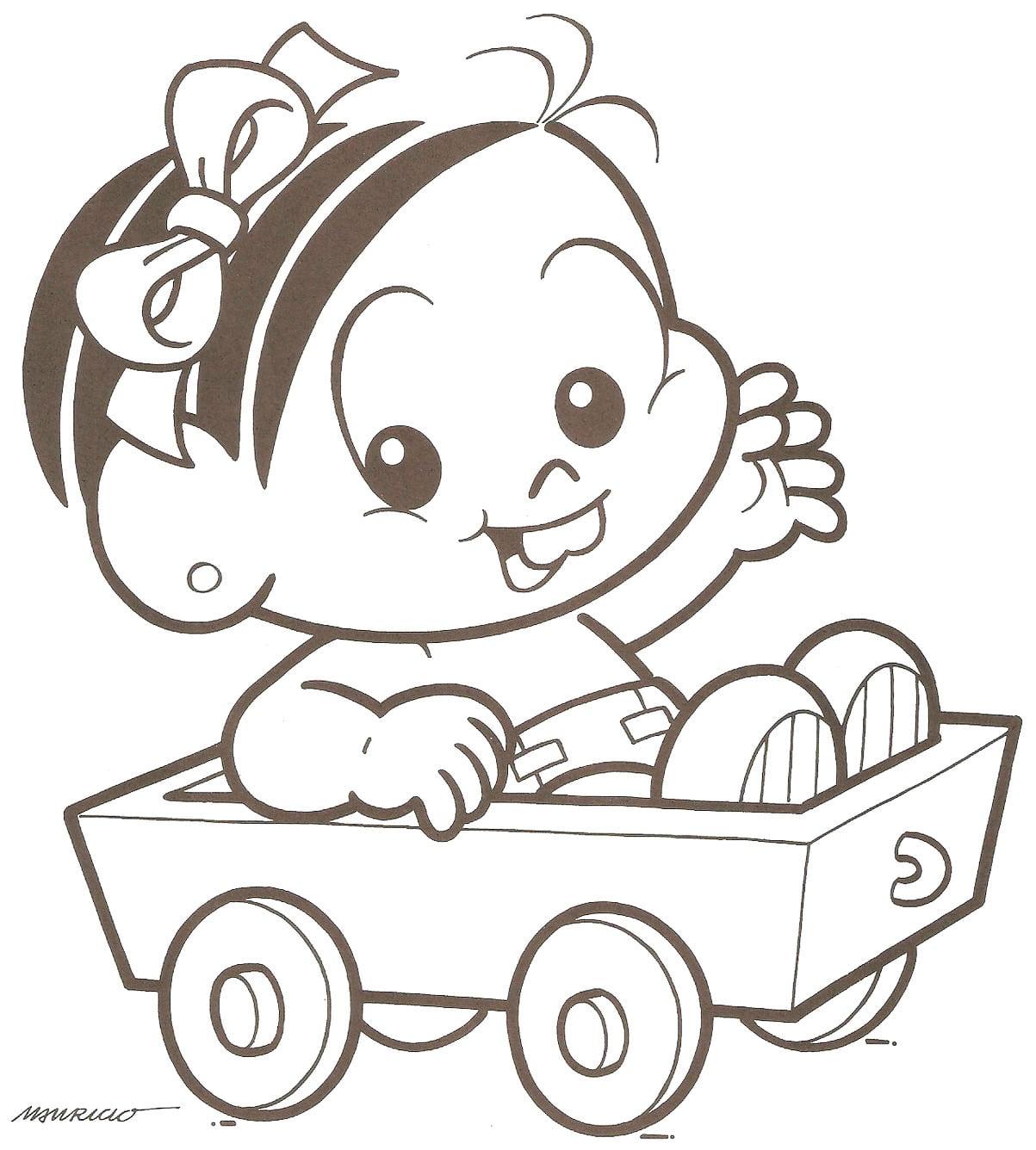 Desenho De Monica Baby No Carrinho Para Colorir