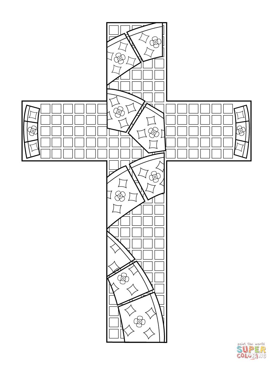 Desenho De Mosaico Cruz Para Colorir