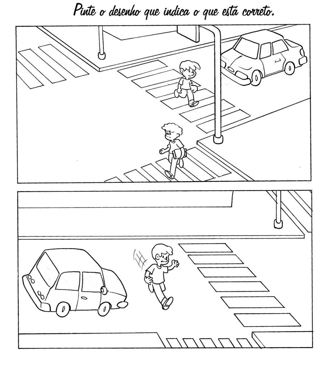 Desenho De Sinais De Trânsito Para Pedestre Para Colorir