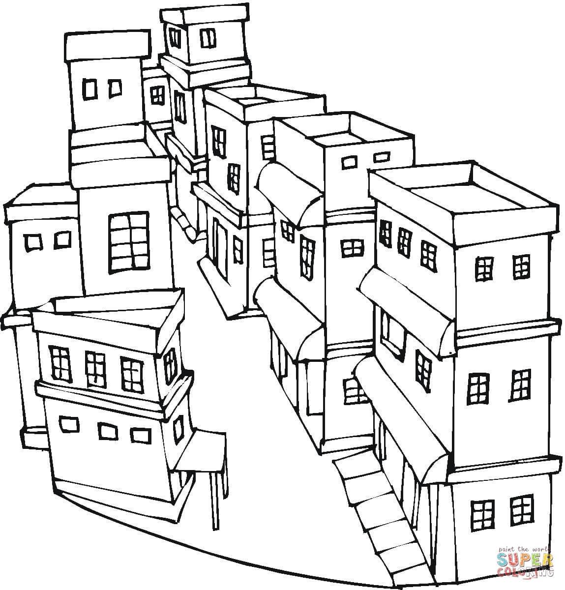 Desenho De Uma Rua De Uma Cidade Para Colorir