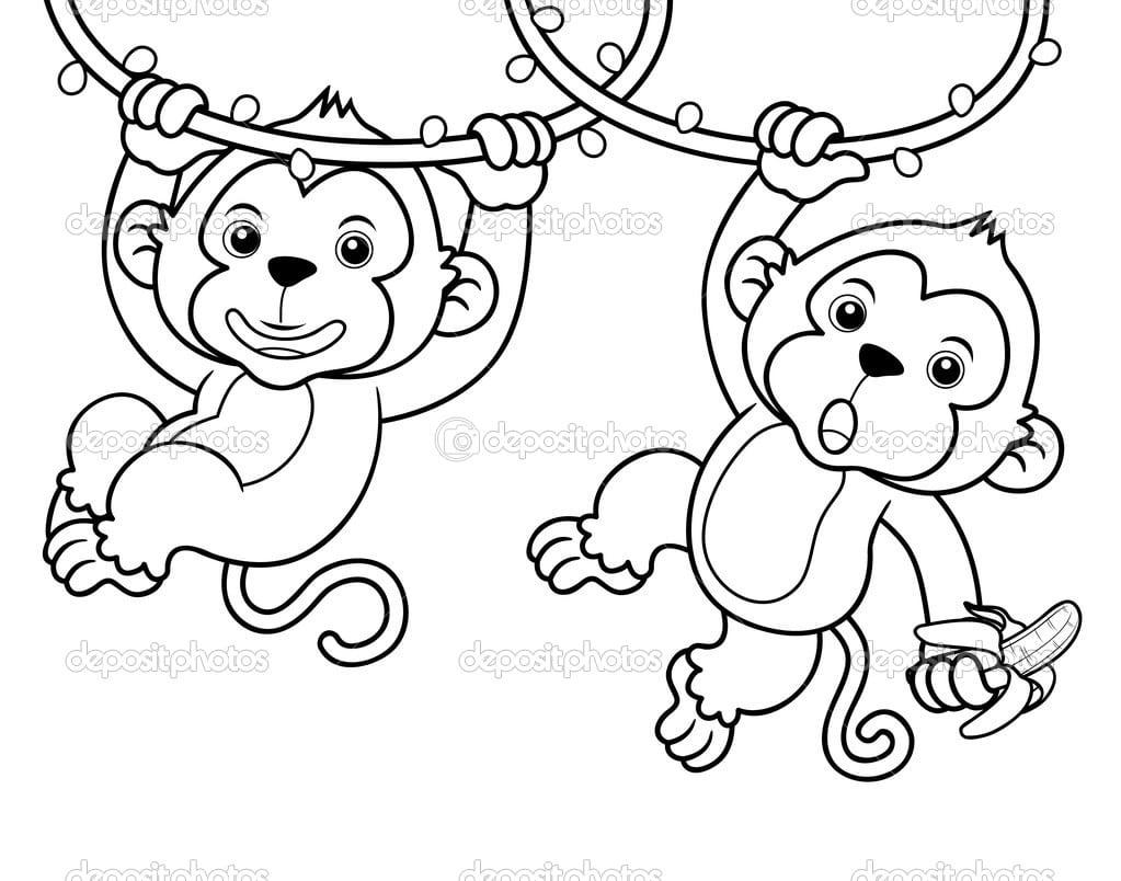 Desenhos Animados De Macacos — Vetor De Stock © Sararoom  28768793