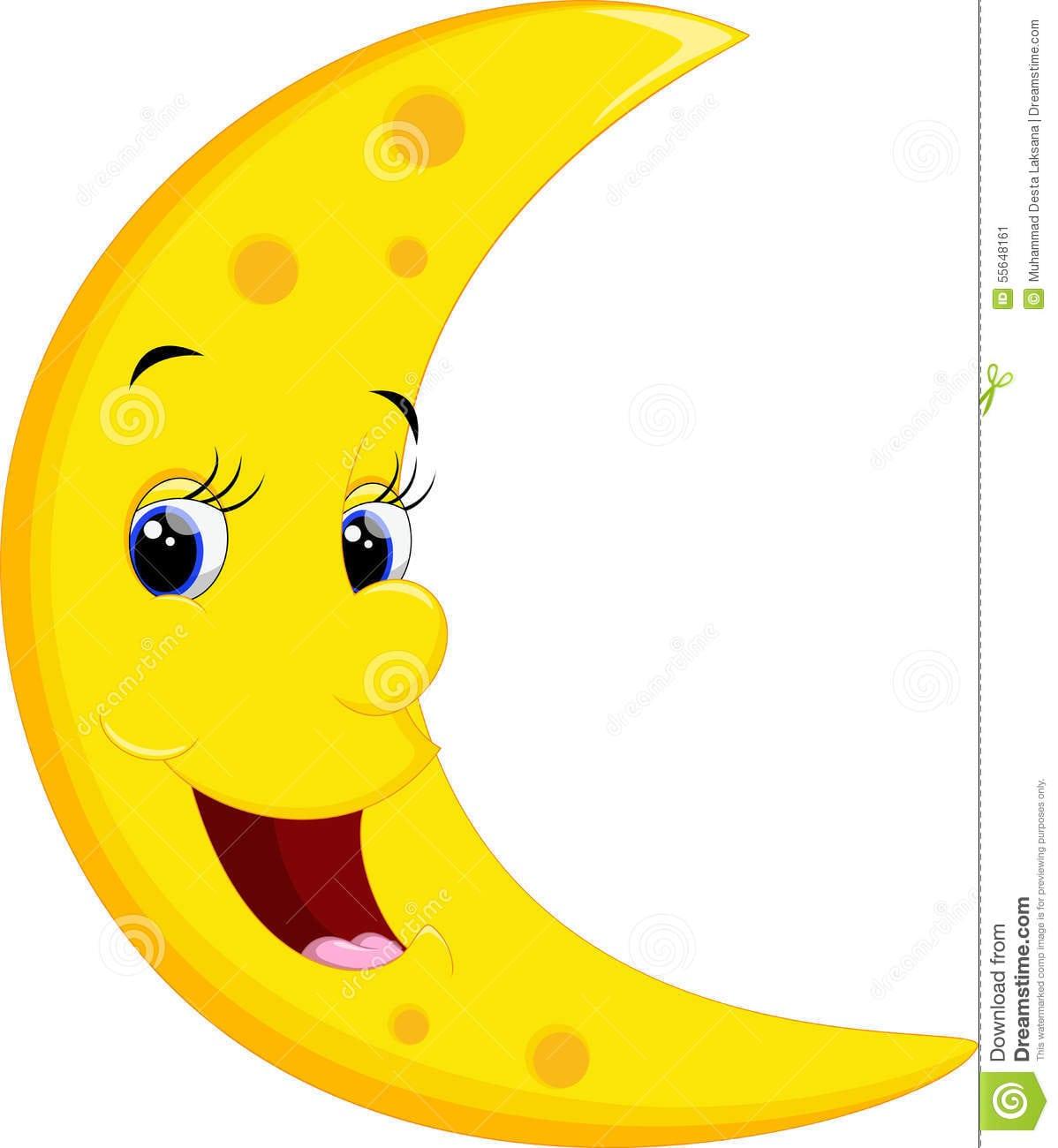 Desenhos Animados De Sorriso Da Lua Ilustração Stock