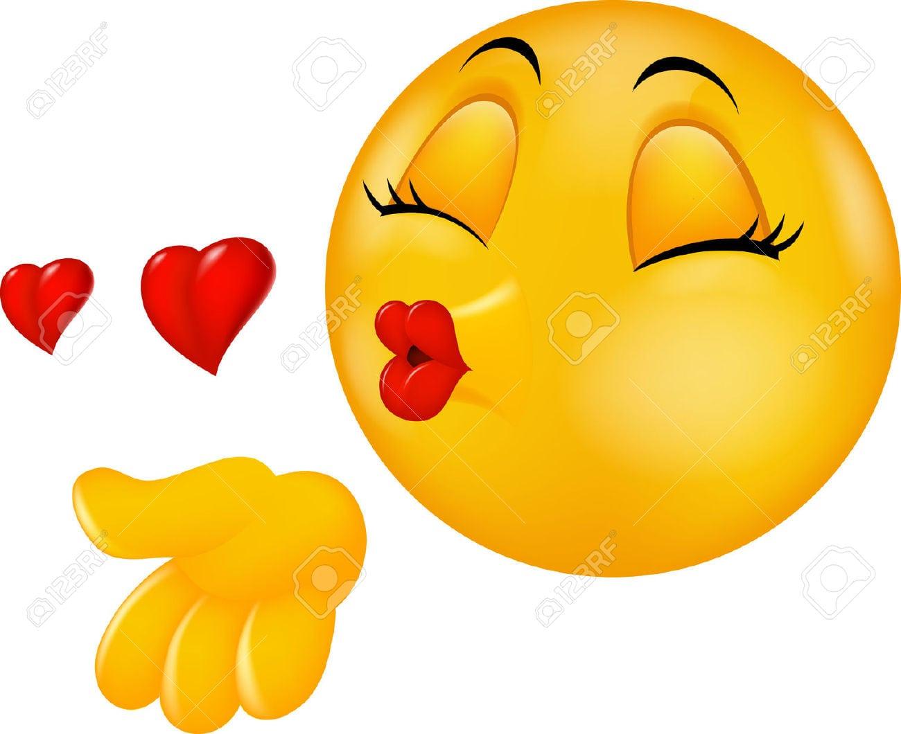 Desenhos Animados Rodada Beijando A Cara Emoticon Fazendo Beijo Do