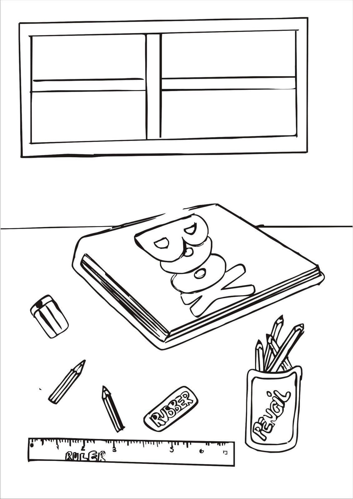 Desenhos De Material Escolar Para Colorir E Pintar