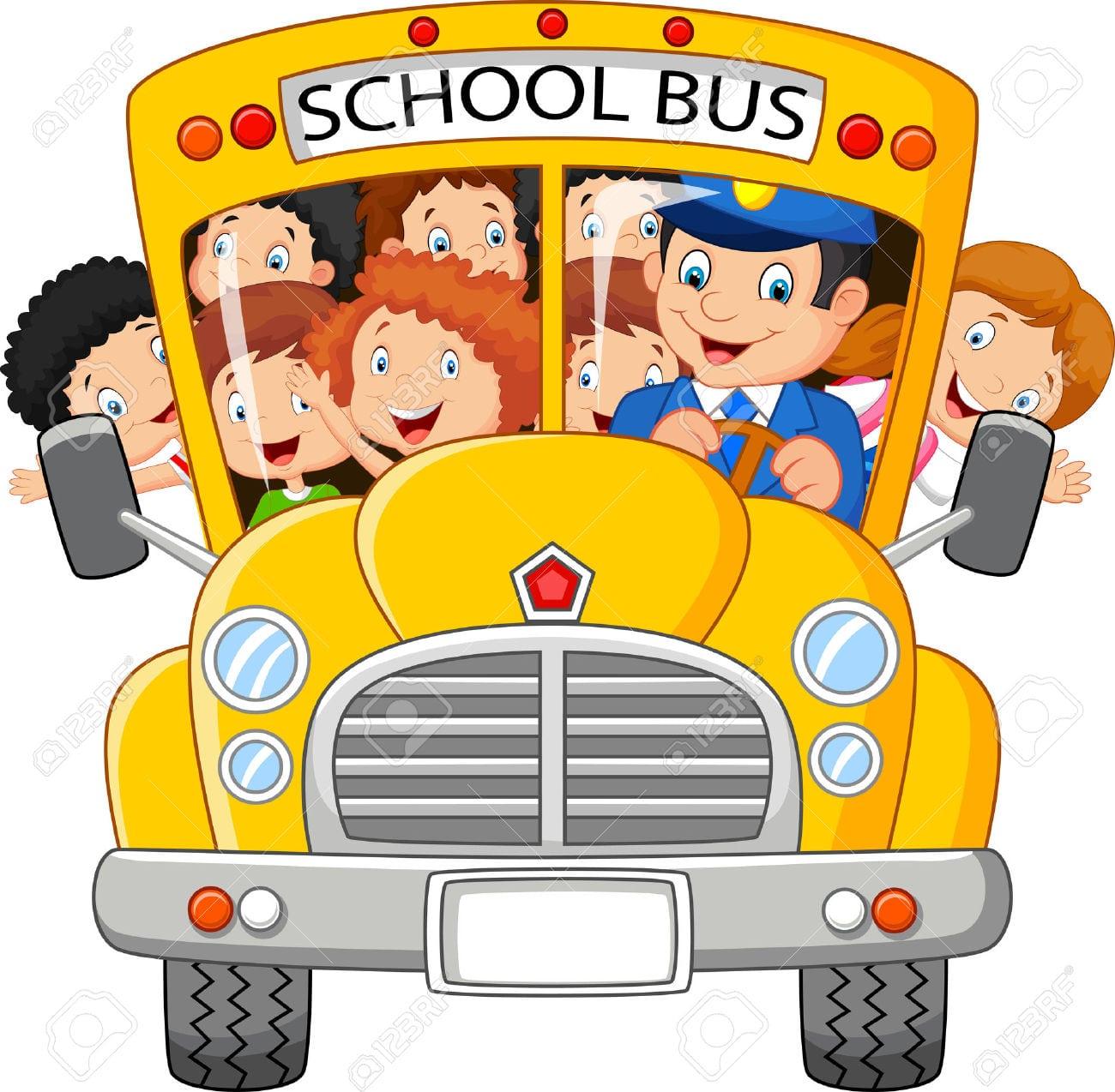 Escola Dos Desenhos Animados Para Crianças Viajando No ônibus