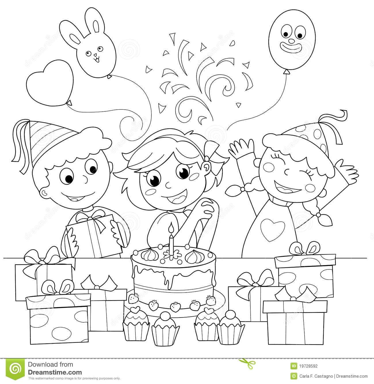 Feliz Aniversario! Ilustração De Coloração Fotografia De Stock