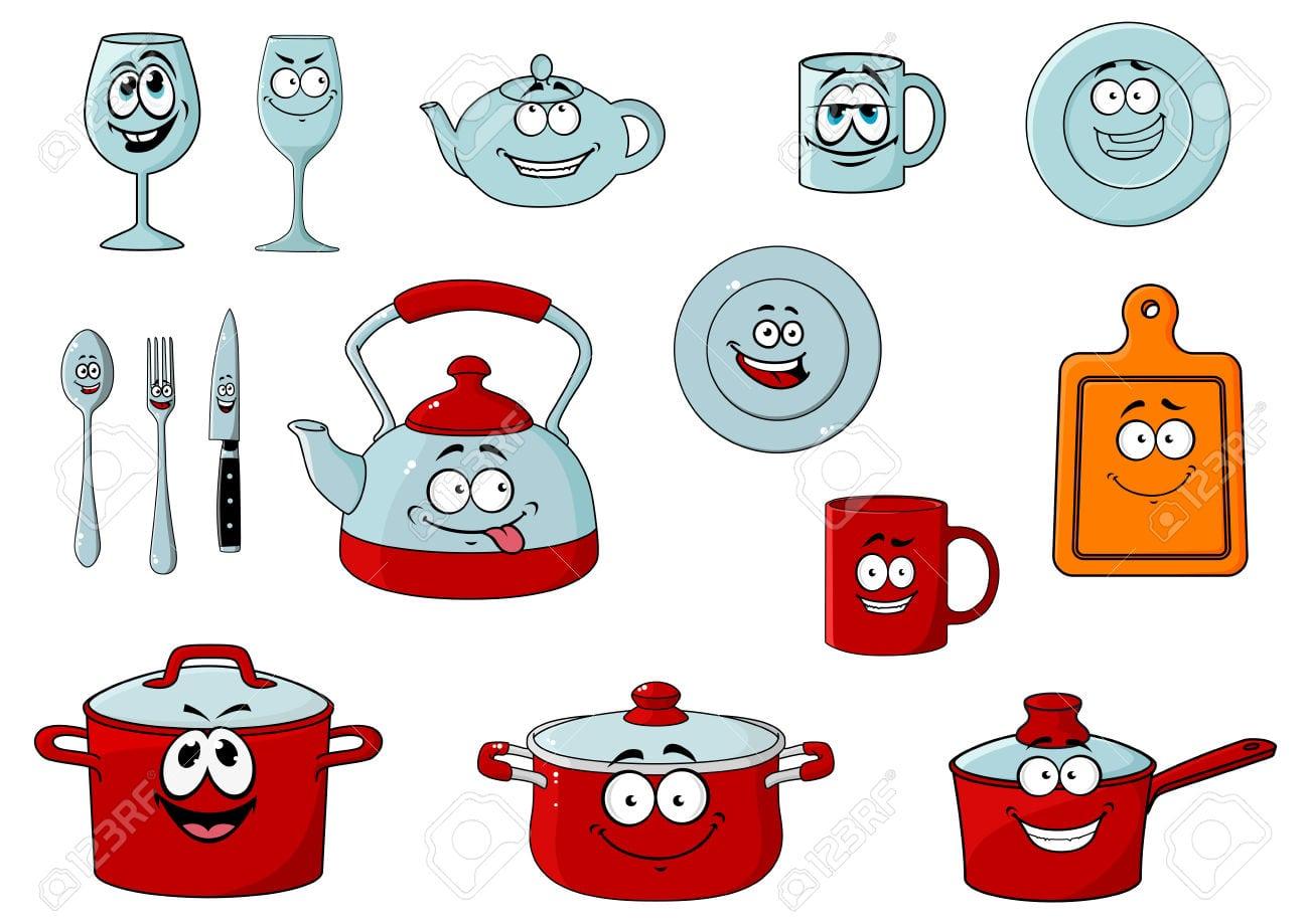 Feliz E Sorridente Copos Desenhos Animados E Personagens Com