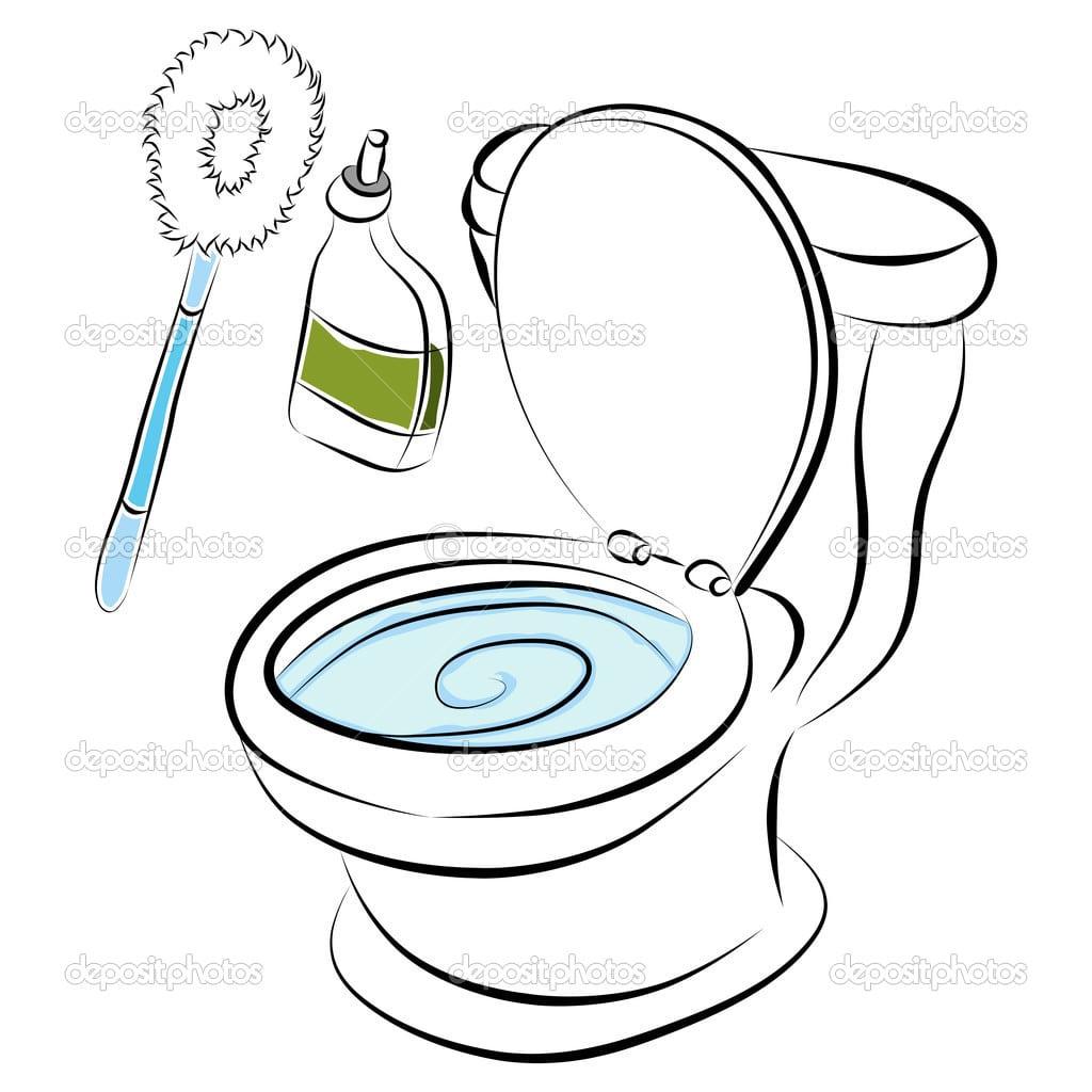 Ferramentas De Limpeza De Vaso Sanitário — Vetor De Stock
