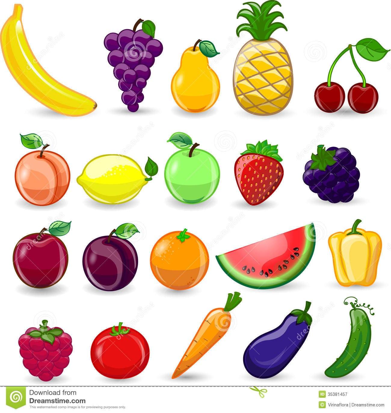 Frutas E Legumes Dos Desenhos Animados, Vetor Fotografia De Stock