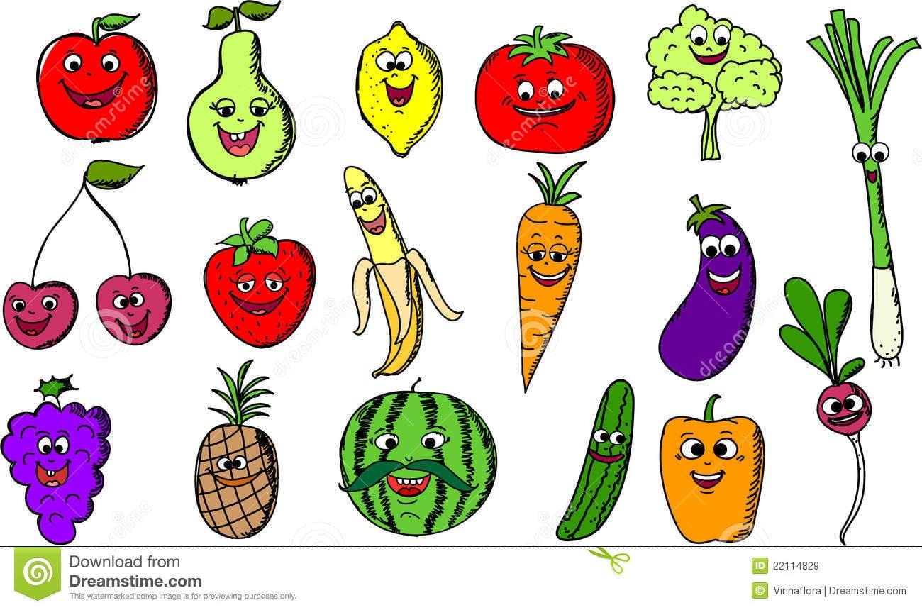 Frutas E Verdura Engraçadas Dos Desenhos Animados, Vetor Imagens