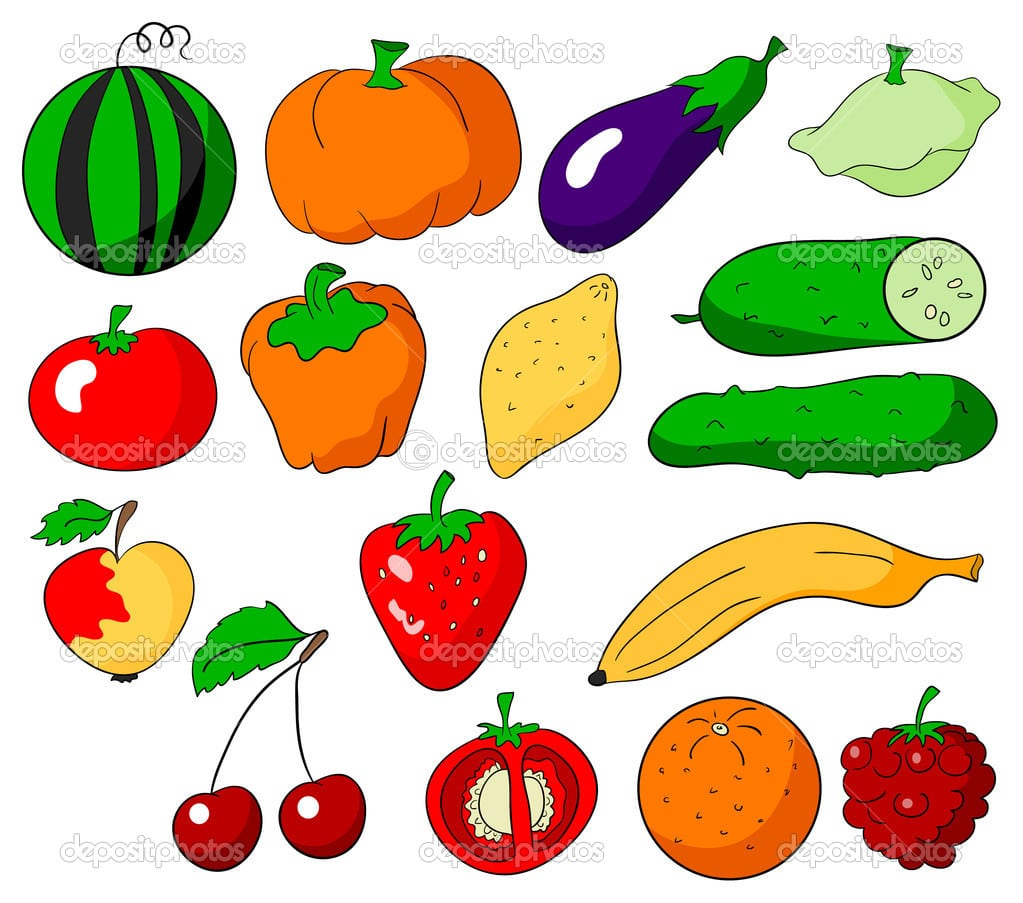 Frutas Verduras E Legumes — Vetor De Stock © Penguinn  10581666