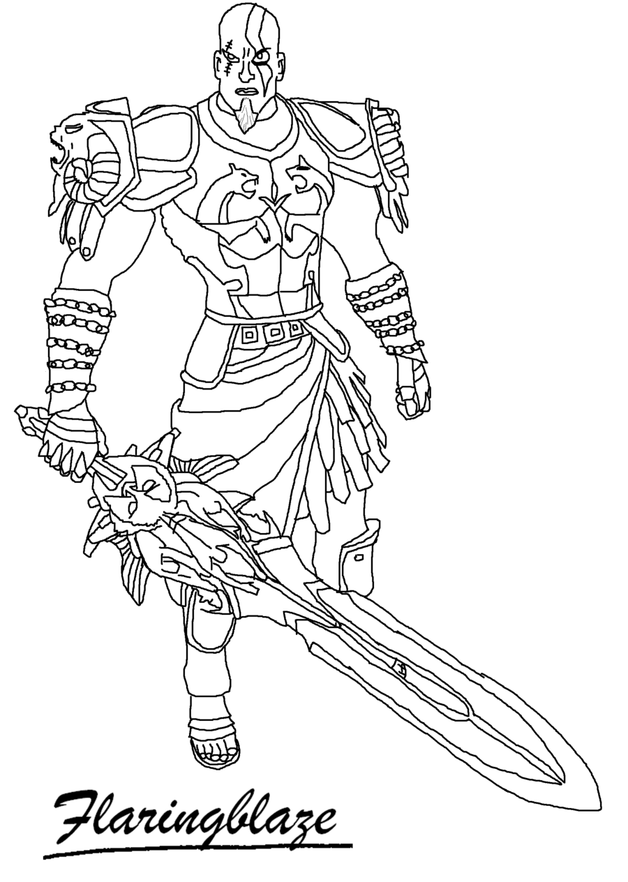 God Of War 2  Kratos Line Art By Flaringblaze On Deviantart