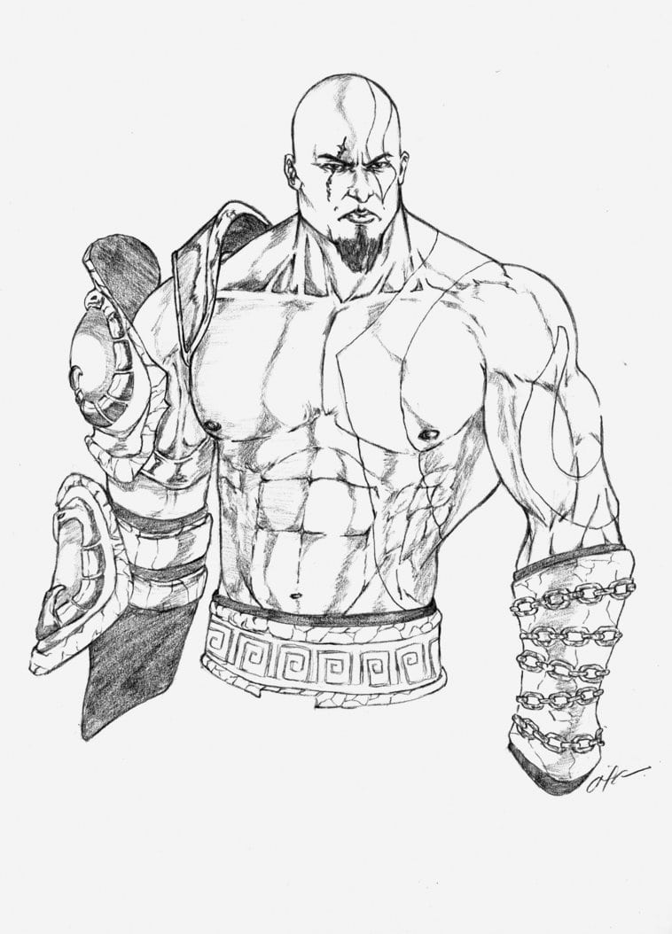 God Of War Sketch Sketch Coloring Page