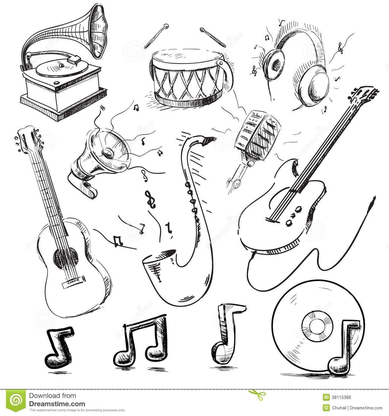 Grupo Do Vetor Dos Instrumentos Musicais Fotos De Stock – 100