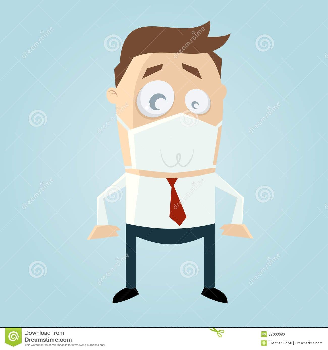 Homem Dos Desenhos Animados Com Máscara Da Proteção Foto De Stock