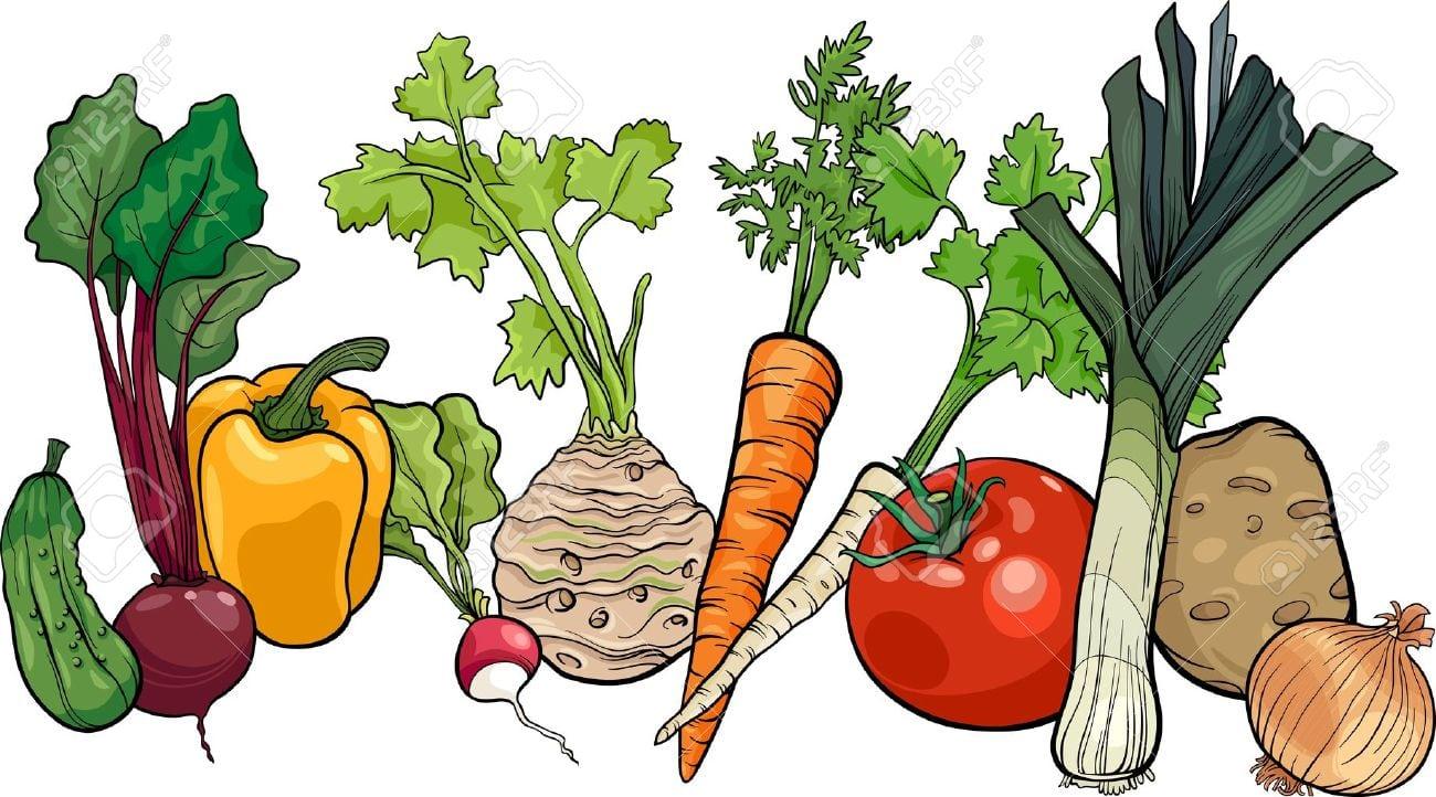 Ilustração Dos Desenhos Animados De Legumes Alimentos Objeto Grupo
