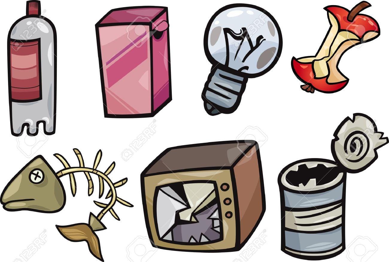 Ilustração Dos Desenhos Animados De Lixo Ou Lixo Objetos Clip Art