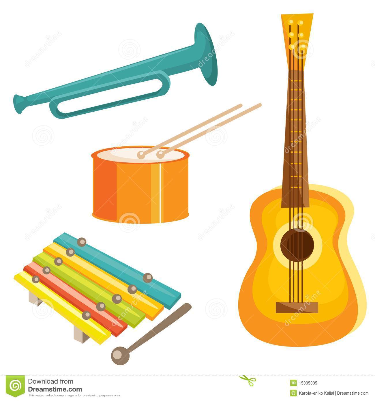 Instrumentos Musicais Dos Desenhos Animados Foto De Stock Royalty