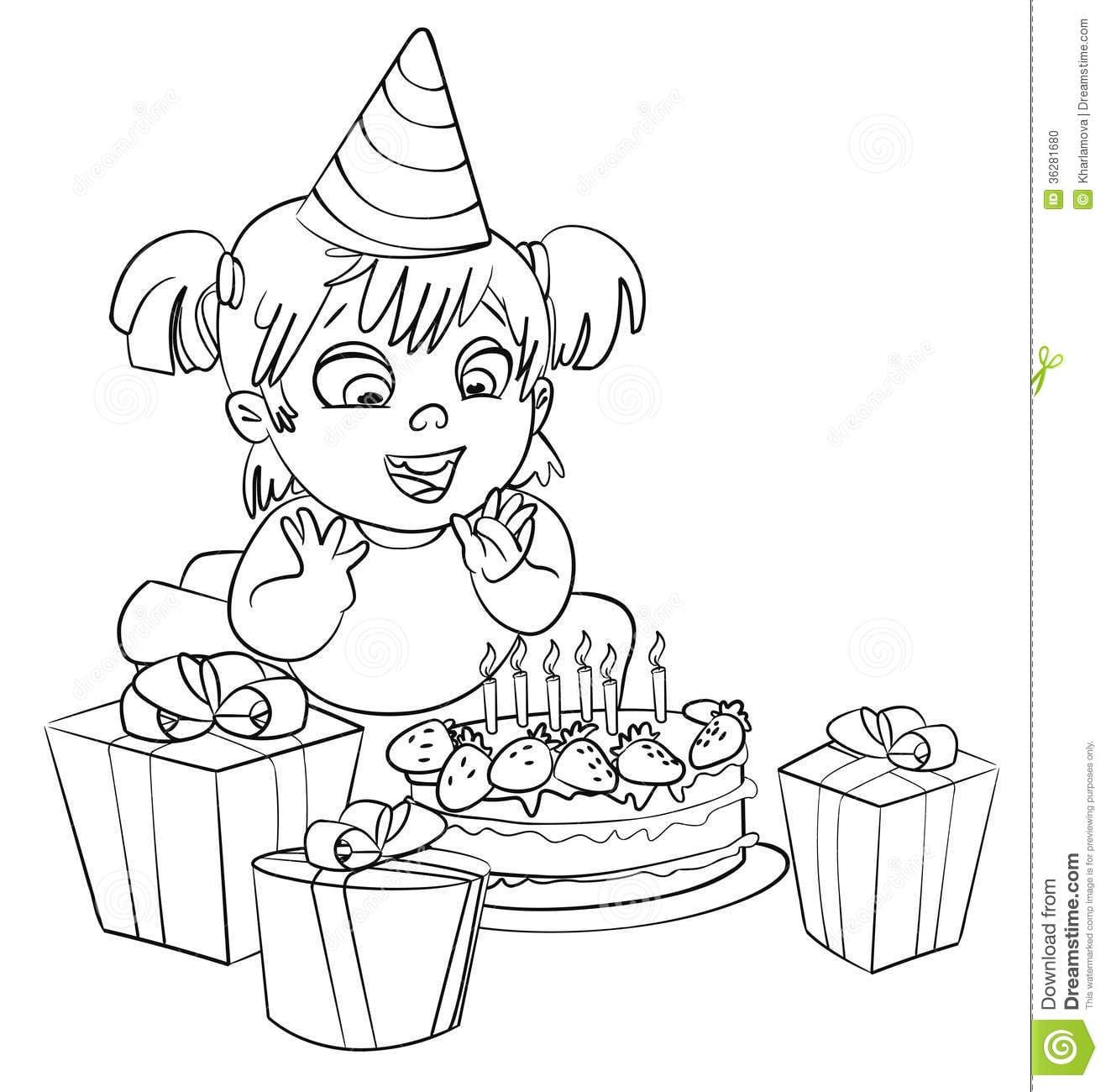 Menina Que Tem O Divertimento Que Comemora Seu Aniversário  Livro