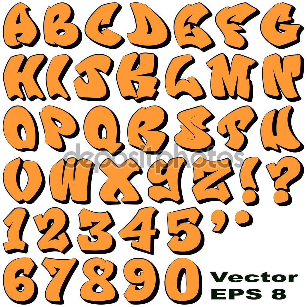 Números E Letras De Graffiti — Vetor De Stock © Binkski  56683511