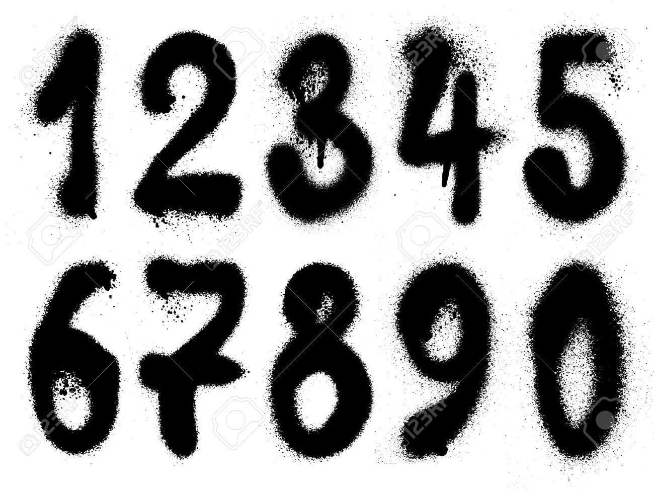 Números Graffiti Grunge Mão Desenhada Banco De Imagens Royalty