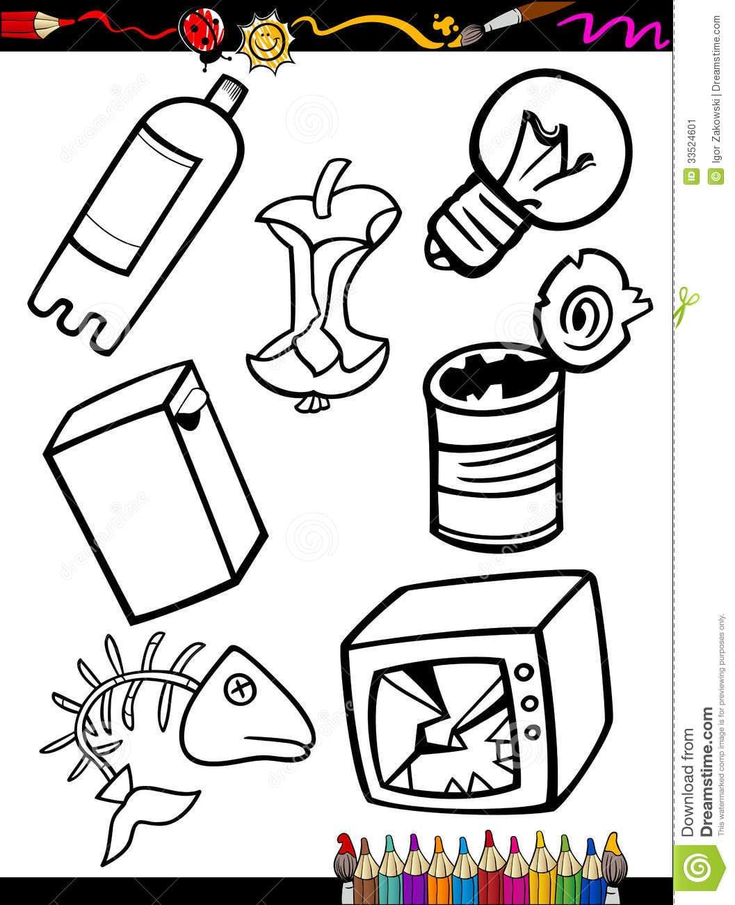 O Lixo Dos Desenhos Animados Objeta A Página Da Coloração Imagem