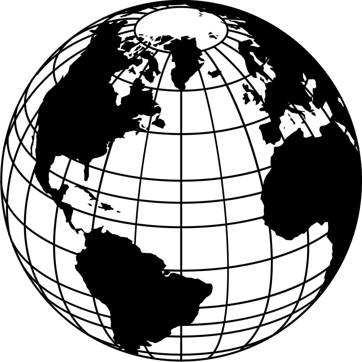 Vintage Globe Line Drawing : Desenho do globo terrestre