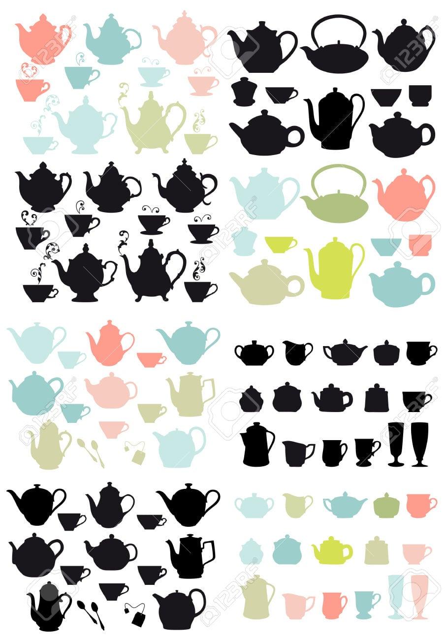 Panelas E Canecas De Café E Chá, Conjunto De Elementos De Desenho
