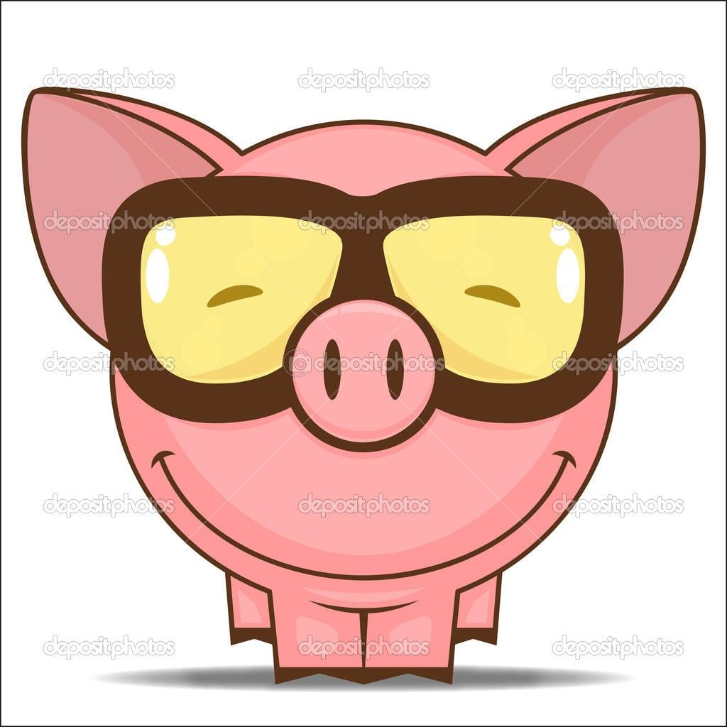 Porquinho Personagem De Desenho Animado — Vetor De Stock