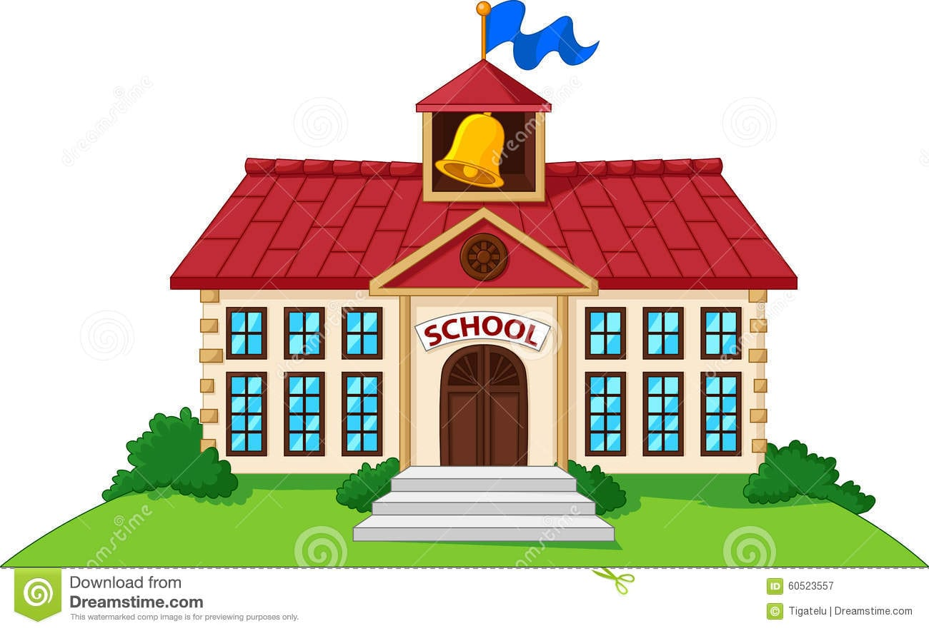 Prédio Da Escola Dos Desenhos Animados Isolado Com Jarda Verde