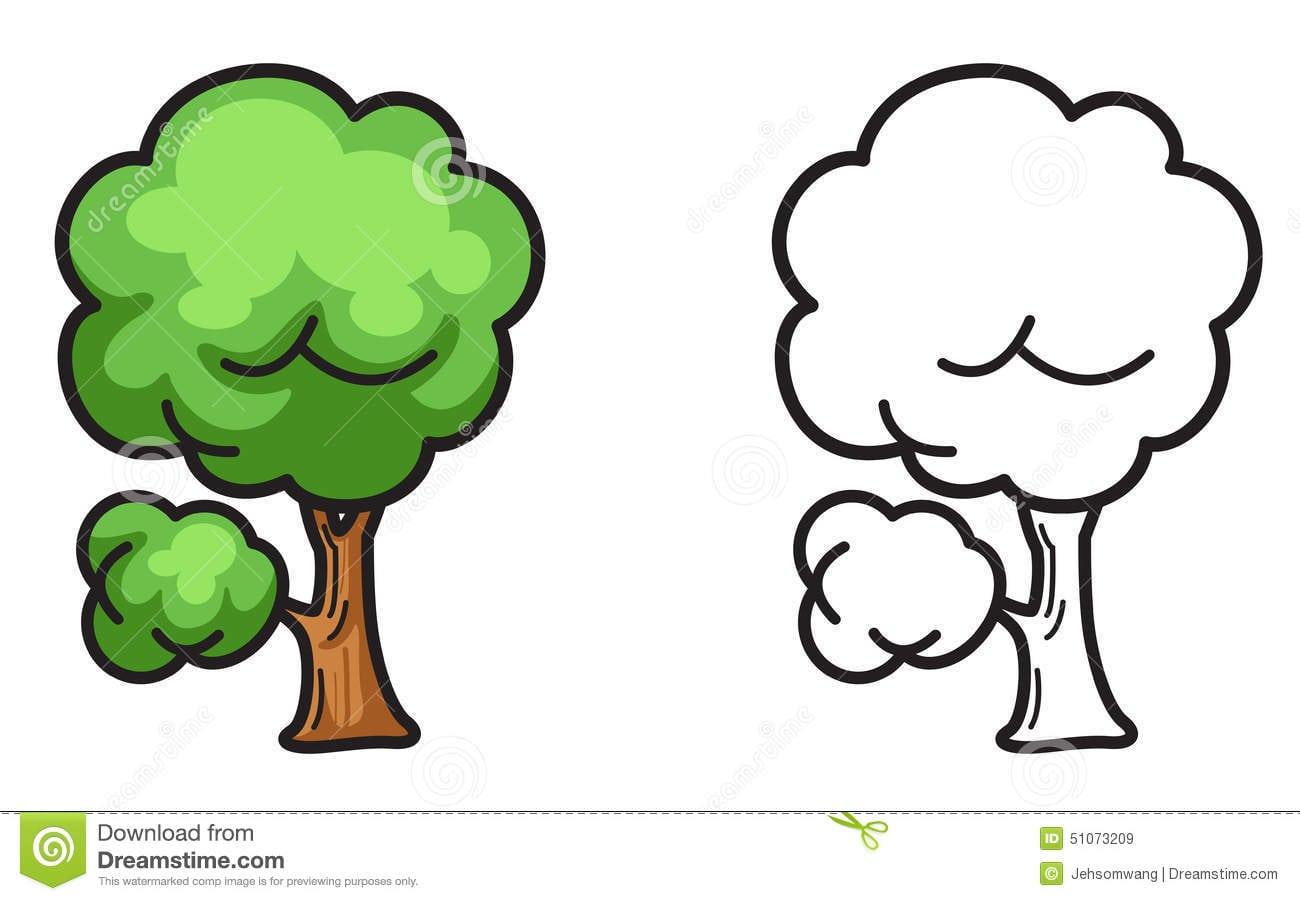 Árvore Colorida E Preto E Branco Para O Livro Para Colorir